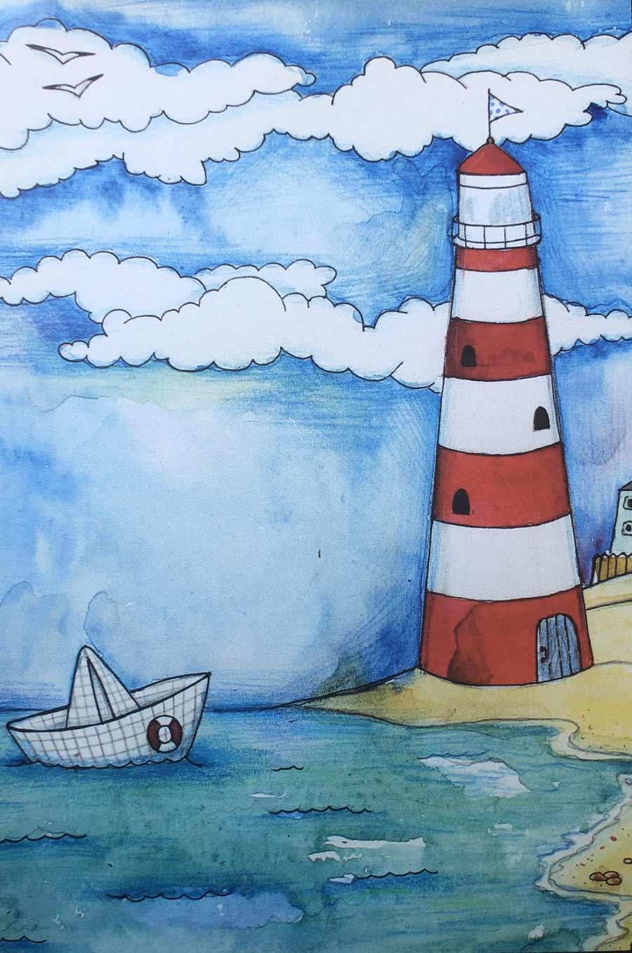 Dedicatoria Barco con Faro Vertical